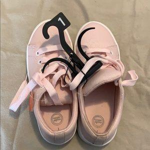 Cute little girl pink glittery sneakers!